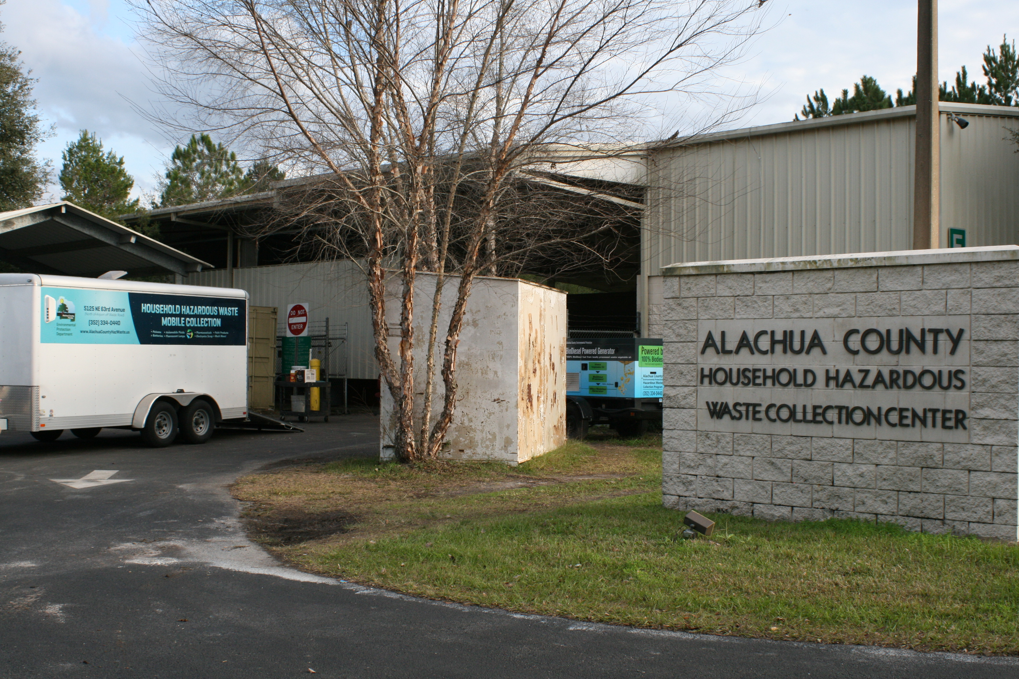 Image showing the entrance sign to the hazardous waste collection center