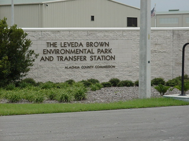Image of the Leveda Brown Environmental Park entrance sign and landscaping